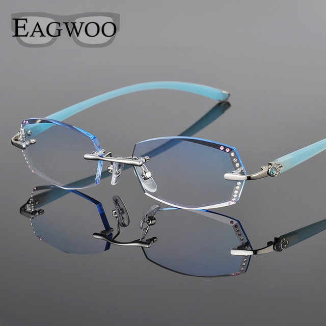 d82b757e13 Metal Alloy Diamond Eyeglasses Women Rimless Prescription Reading Myopia  Progressive Glasses Spectacle with Color lenses 258029