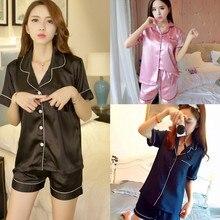 Sleepwear Loungewear Two Piece Satin Pajamas Set Short Sleev