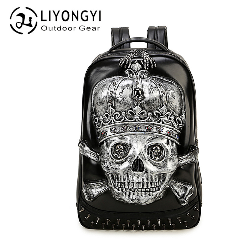 New 2017 Fashion Personality 3D skull leather backpack rivets skull backpack with Hood cap apparel bag cross bags hiphop man bag new fashion replace watch band 22mm 24mm mens womens dark blue 100% genuine crocodile grain leather watch strap band bracelets