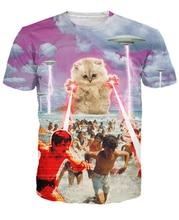 The Kitten No One Loved T Shirt Kitty Alongside UFOs destroying 3d Funny T Shirt Short