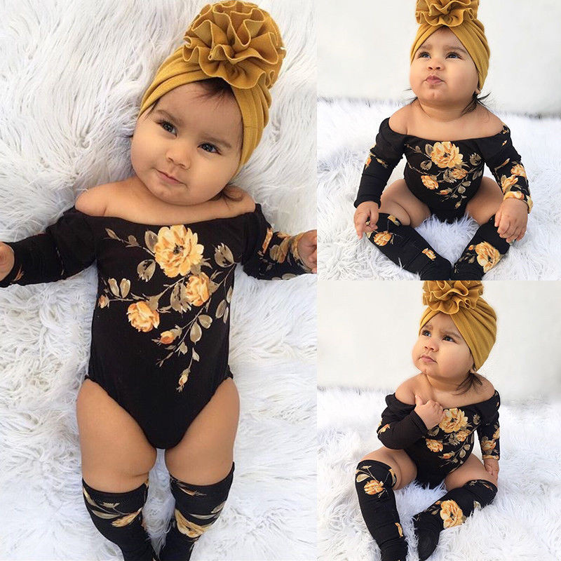 3PCS Newborn Baby Girl Off Shoulder Flower Bodysuits+Leg Warmers Outfit Clothes Set