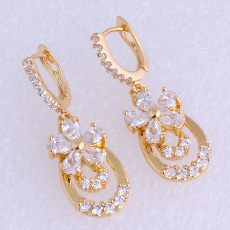 Love Monologue Everlasting White Cubic Zirconia Yellow Gold Color Flowers Drop Earrings J0155