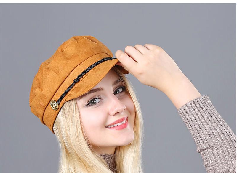 17 Autumn Octagonal Hats Flat Cap For Women Newsboy Beret Hat Female Fashion Metal Button England Style Octagonal Cap 12