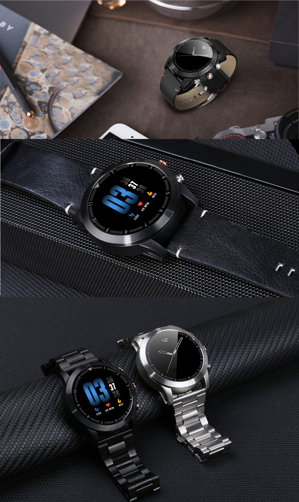 -13 Montre intelligente IP68 étanche Bluetooth 4.2