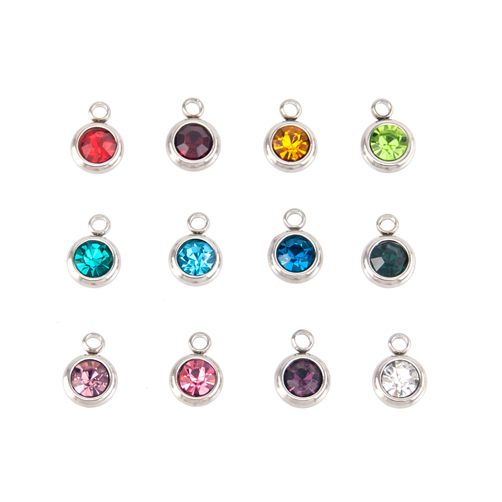 Simsimi Gem Shape & Birth Stones Charm Choker For Women Female Jewelry Stainless Steel Origin Fashion Necklaces Gift Jewelry Jewellery & Watches