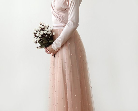 Largo Moda Suave Una Falda Por Encargo Dama Perlas Nupcial Saias Blush Cremallera Faldas Línea Tull Rosado Rosa Tulle nHwqrIx7PH