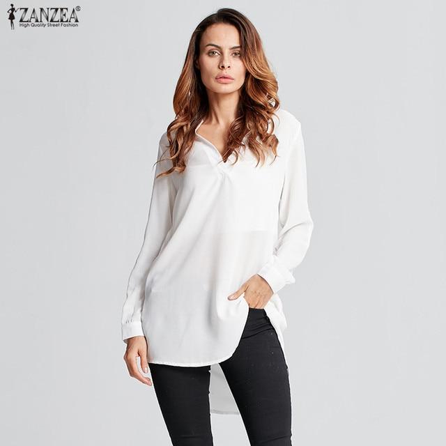 45062797f0d ZANZEA Fashion Women Blouse 2018 Summer Autumn Sexy V-Neck Long Sleeve  Chiffon Shirts Casual Loose Blusas Plus Size Tops 6XL 5XL