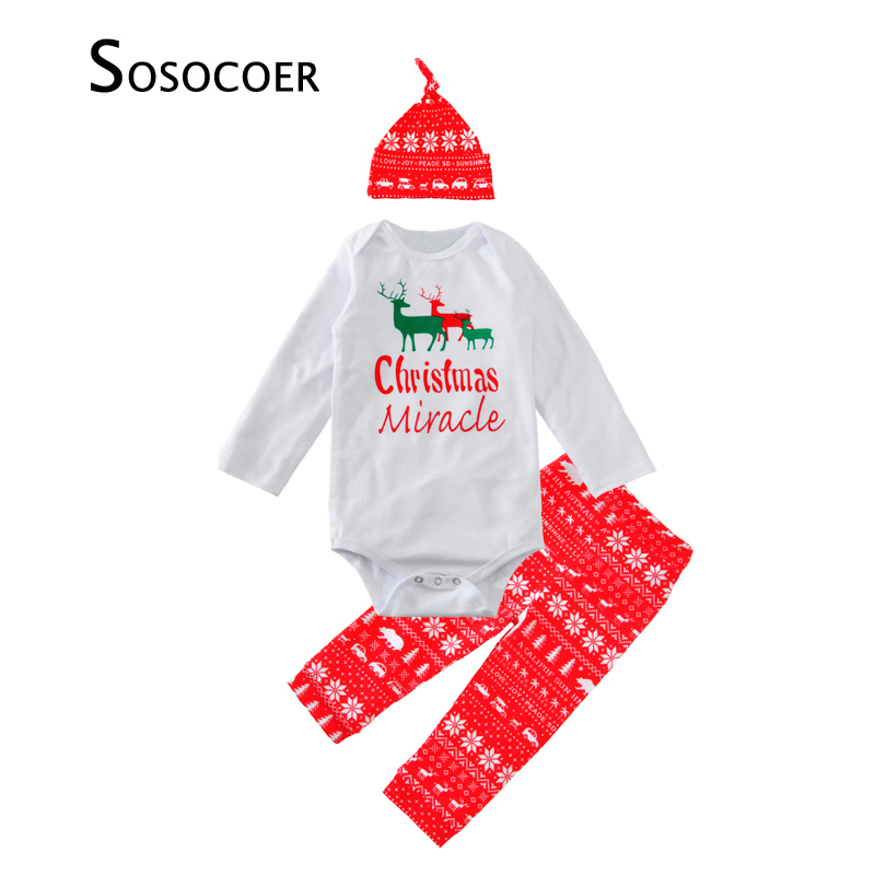 baby boy clothing set hat romper pant 3pcs christmas deer baby clothes 2017 fashion cartoon letter newborn girls clothing sets