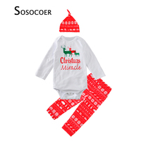Baby Boy Clothing Set Hat Romper Pant 3pcs Christmas Deer Baby Clothes 2017 Fashion Cartoon Letter