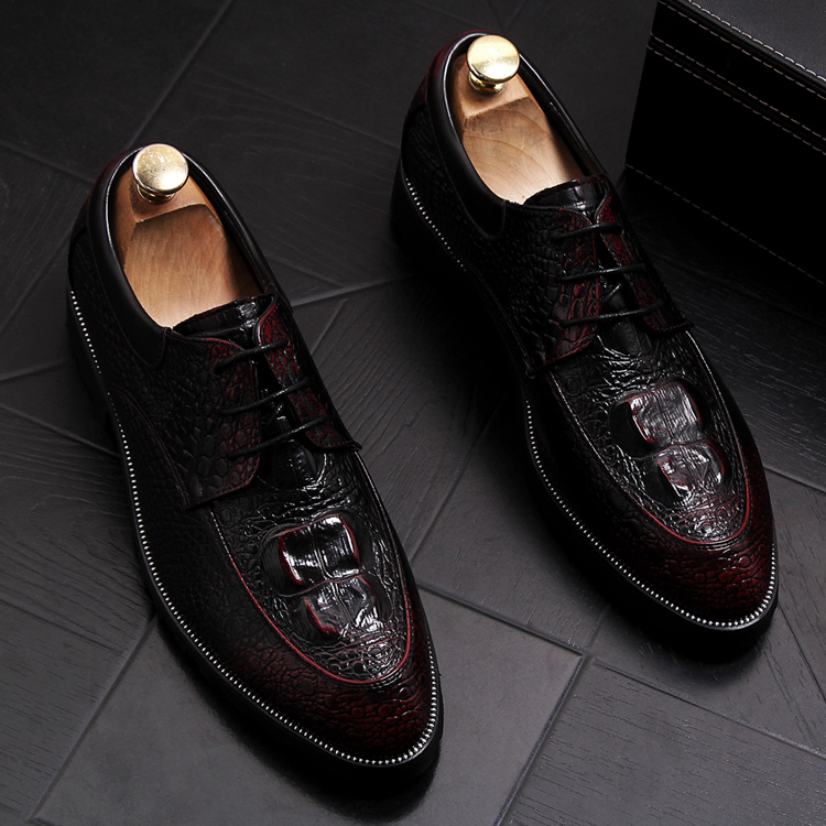 new arrival men's fashion wedding party cow leather shoes alligator skin pattern derby oxfords shoe platform point toe sneakers