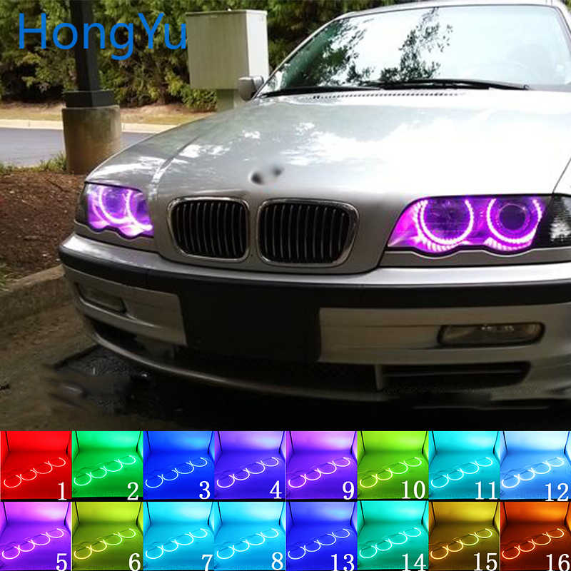 Headlight Multi-color RGB LED Angel Eyes Halo Ring Eye DRL RF Remote Control for BMW E36 E38 E39 E46 projector 4x131 Accessories