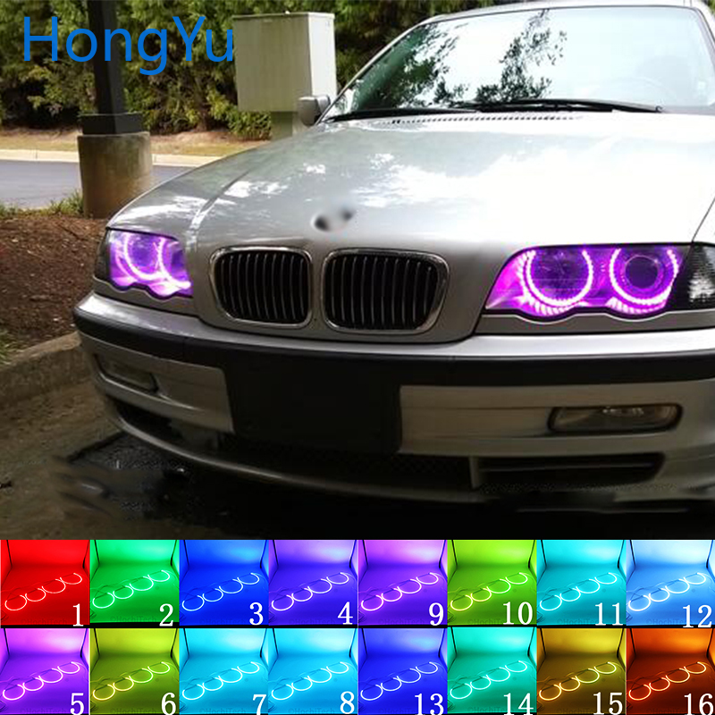 Headlight Multi-color RGB LED Angel Eyes Halo Ring Eye DRL RF Remote Control For BMW E36 E38 E39 E46 Projector 4x131 Accessories