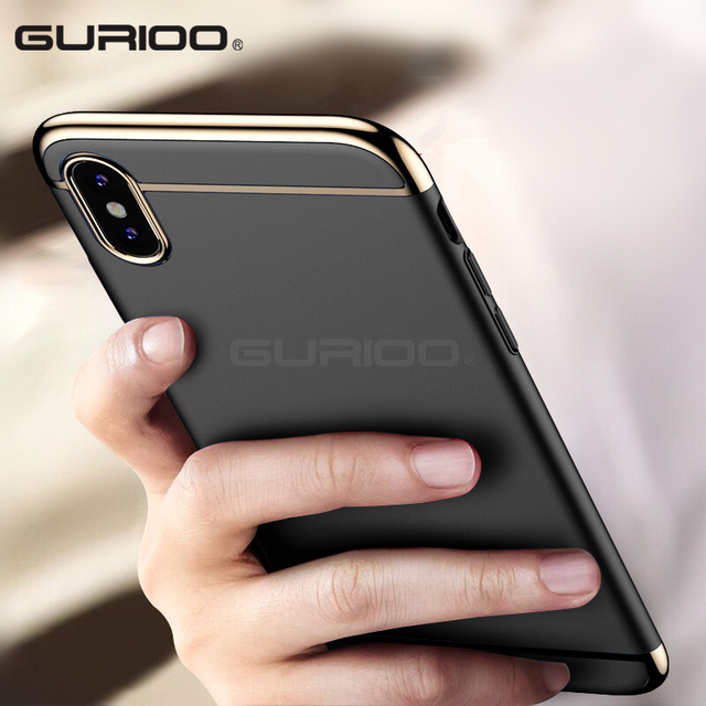 pretty nice 5a085 34202 US $3.36 20% OFF|Gurioo For Apple iphone X 10 Case Armor Ultra Thin Gold  Black Case for iphone X cases plating Luxury Cover Accessories-in Fitted ...