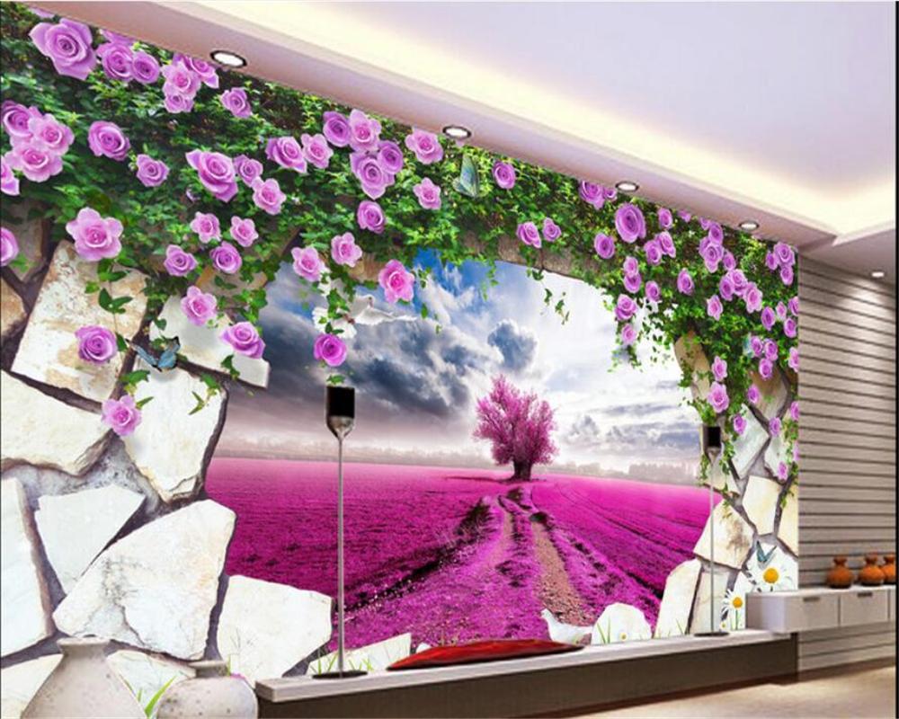 Beibehang 3d Wallpaper Erweiterte Jede Größe Tapete Fantasie Lavendel Gelbe  Blume Lila Rosa TV Hintergrund Wand