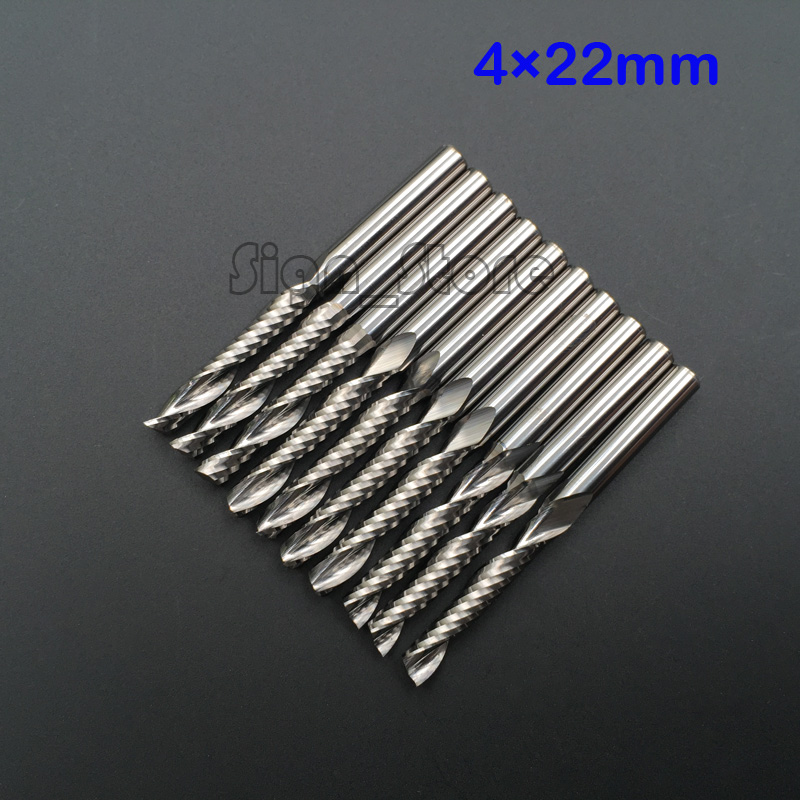10pcs High Quality cnc bits single flute Spiral Router Carbide End Mill Cutter Tools 4mm x 22mm Free Shipping  2 4mm single flute cnc router bits one flute spiral end mill carbide milling cutter engraving carving tools