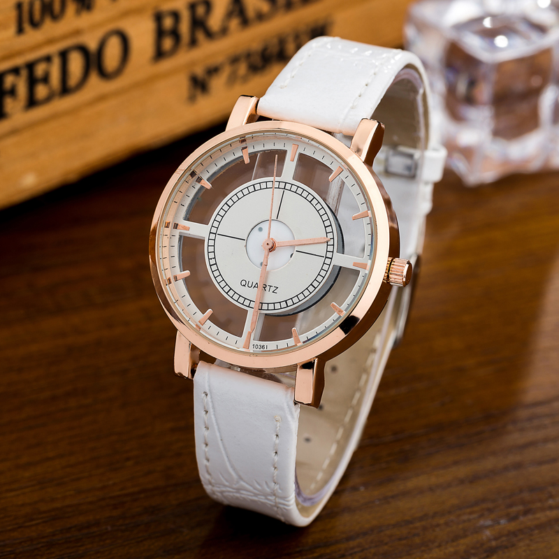 WOMAGE Fashion Unique Hollow Transparent Watch Women Watches Ladies Watches Quartz Leather Women's Watches relojes de mujer