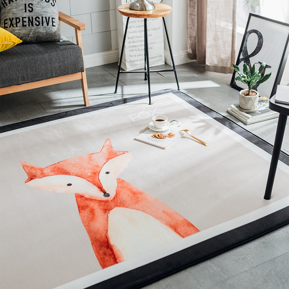 Multi size Cartoon Fox Printed Doormat Soft Flannel Carpet For ...