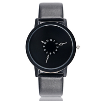 PAIDU Fashion Cool Unique Design Quartz Wrist Watch Turntable Black Dial Clock Hours Mens Womens Gift