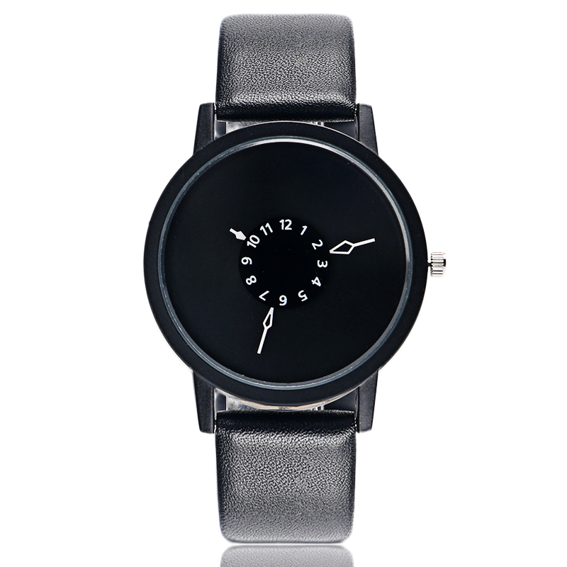 Fashion Cool Unique Design Quartz Wrist Watch Turntable Black Dial Clock Hours Mens Womens Gift Unisex relogio relojes silver band quartz wrist watch turntable black dial clock hours mens womens gifts free shipping