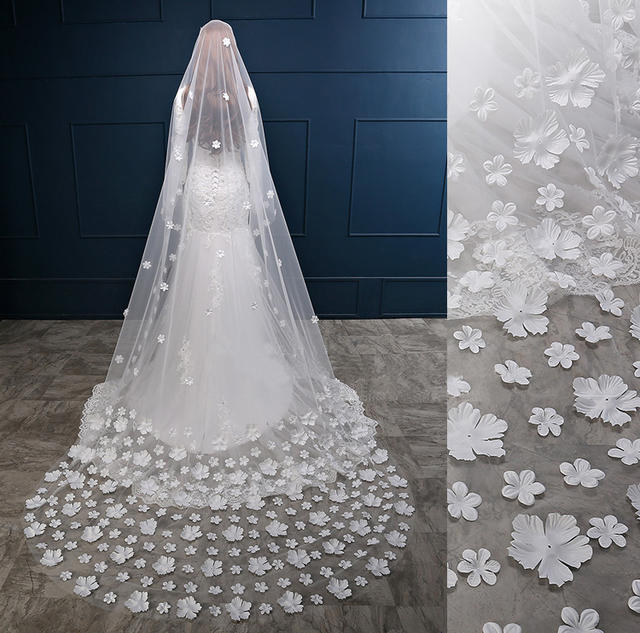 Veil 3m White/ivory Long Wedding Veil With Comb Flowers Bridal Cathedral Veil Wedding Accessories Veu De Noiva Longo Velos Novia