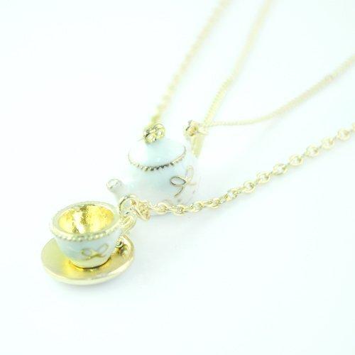 Cute Gold Teapot & Teacup Enamel Pendant Necklace Jewelry , Double Layered Desgin,NL-982