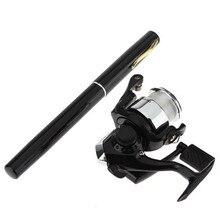 1 Set Portable Pocket Aluminum Alloy Pen Fishing Rod Pole Reel Nylon Line Combos