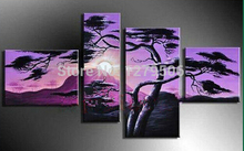 100% Hand-painted Wall Art Grassland Decoration Modern Abstract Landscape Oil Painting On Canvas 4 Piece Living Room Home Decor