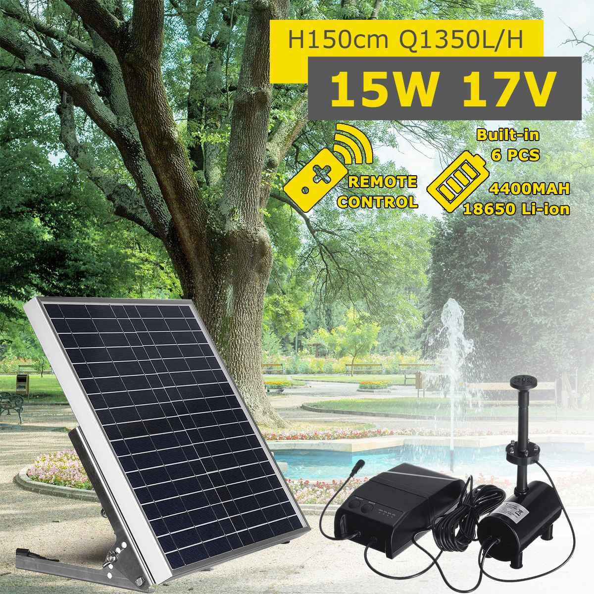 Fontaine à énergie solaire 15W panneau solaire + Kit de pompe à eau sans brosse avec télécommande à batterie pour bassin de jardin bain d'oiseau
