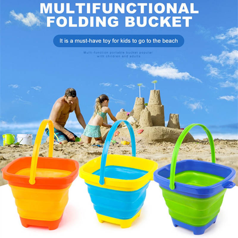 Portable Multifunctional Soft Plastic Folding Bucket Children's Or Kid Toys Beach Bucket Play Water Toy Bucket Telescopic Barrel