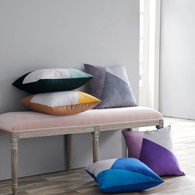 Nordic Velvet Geometric Color Matching Cushion Cover Home Pillowcase 45x45cm Car Seat Decoration Sofa Bed Without Filling