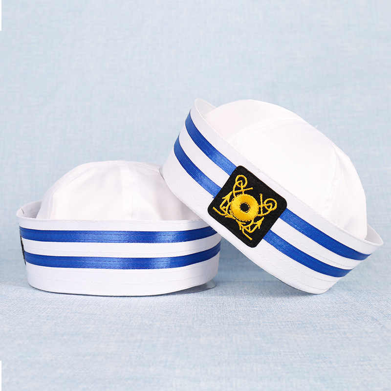 ทหารหมวกสีขาวหมวกกะลาสีเรือ Marine Marine หมวก Anchor Army หมวกสำหรับหมวกผู้หญิงผู้ชายเด็กแฟนซีคอสเพลย์หมวกอุปกรณ์เสริม