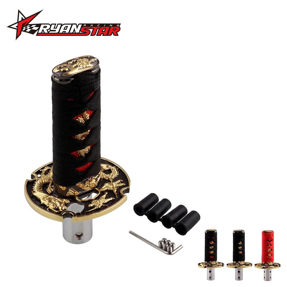 Jdm curto samurai ouro dragão espada shift knob 152mm 205mm metal ponderado katana shifter para o carro universal sk178