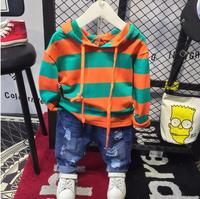 kids clothing sets Boys Striped hoodie + jeans 2pcs clothes outfits Casual children Tracksuit cottons toddler Boys clothing set