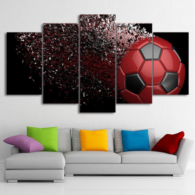 Modular Painting Canvas Wall Art Pictures Home Decor 5 Pieces Soccer Abstract Football Disintegrate For Living