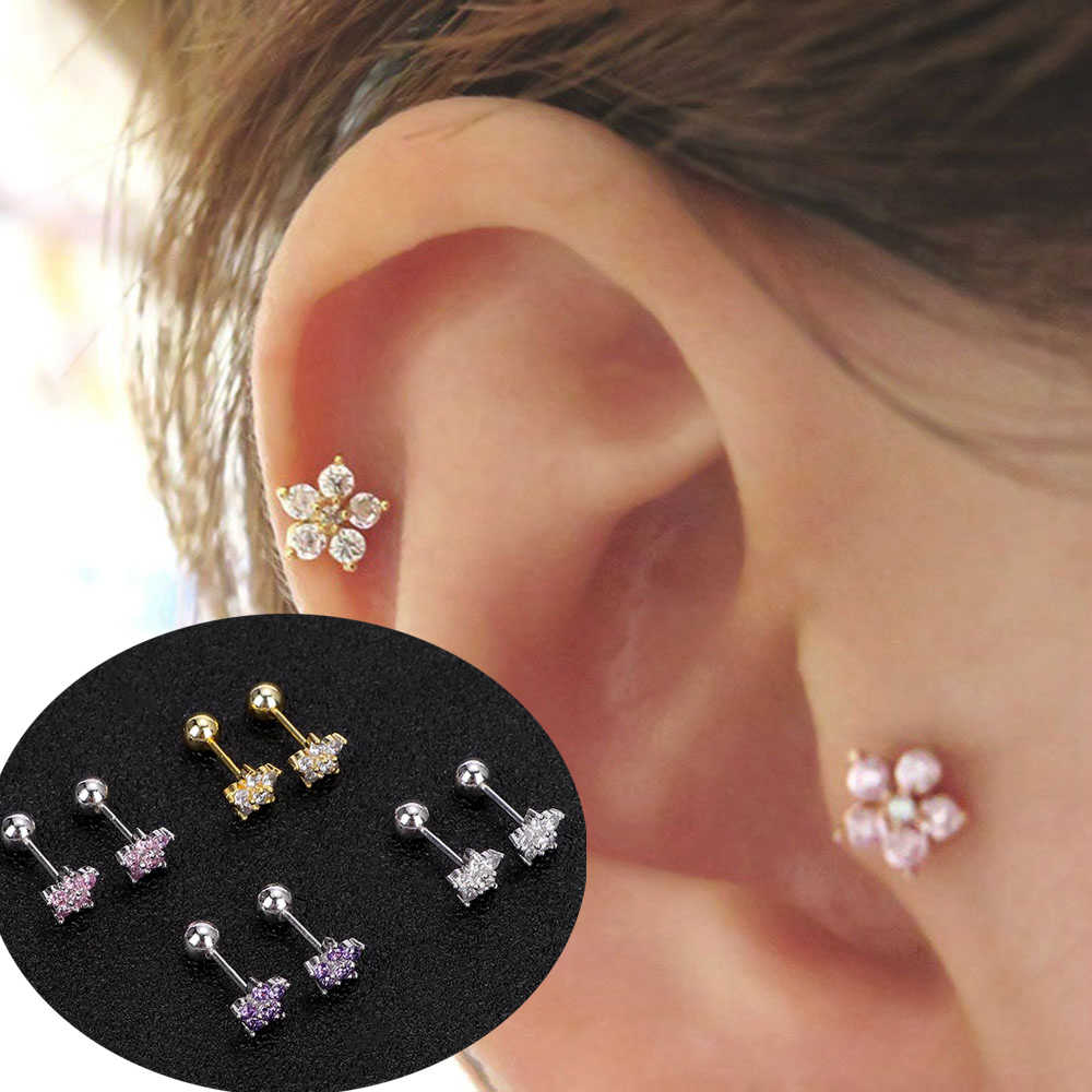 Zircon Flower Cartilage Ear Stud Bar Cartilage Piercing Earring Fashion Jewelry Sexy Girls Tragus Helix Earring Anti-allergy