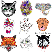 Lion Tiger Dog Unicorn Cat Animal Patch for Clothing Sticker Thermo Transfer Clothes Decor Badges Application DIY T-shirt E