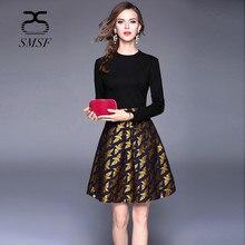 SMSF 2018 Spring O-Neck Dress Jacquard Weave Fashion Cotton Long Sleeve Black Dress Vintage Elegant Slim Knitted Floral Dress