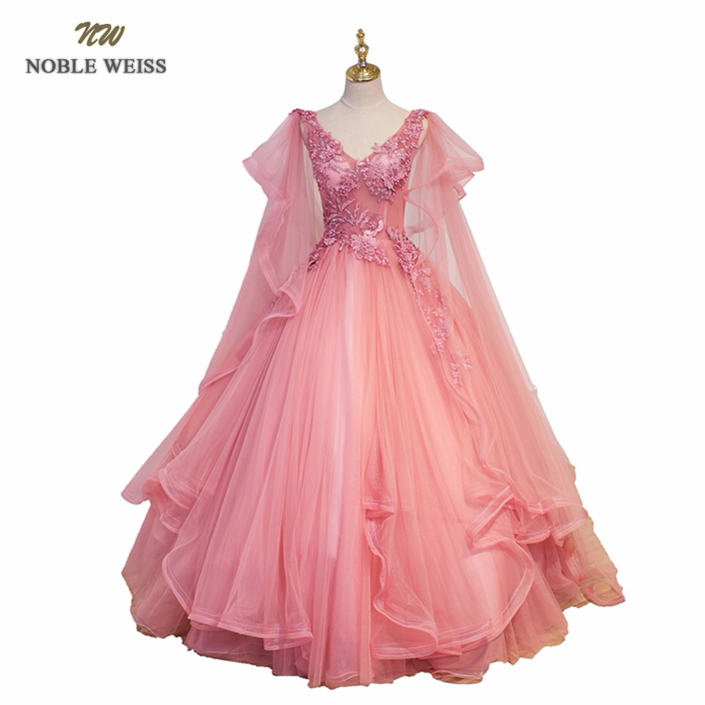 NOBLE WEISS Sexy Pink   Prom     Dresses   Appliques Beading Ball Gown V-Neck Bare Back See through Tulle   Prom   Gown
