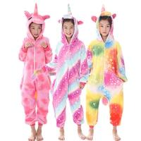 Детский комбинезон с единорогом; одежда для сна для девочек; комбинезон для малышей с изображением панды и оленя; детская зимняя Фланелевая ...