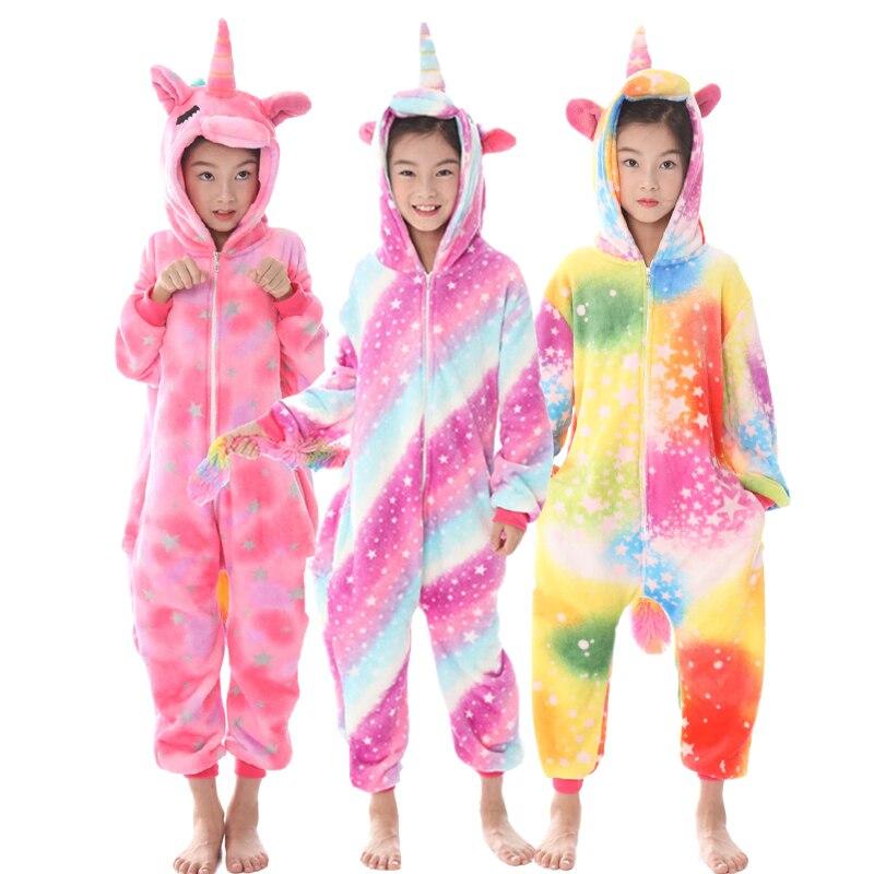 Kids Unicorn Onesie Sleepwear Girls Animal Panda Stitch Deer Baby Jumpsuit Children Winter Kugurumi Flannel Licorne Boys Pyjamas