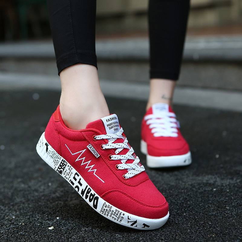 Fashion Women Vulcanized Shoes Woman Sneakers Ladies Lace-up Casual Shoes Breathable Walking Canvas Flats Sneakers