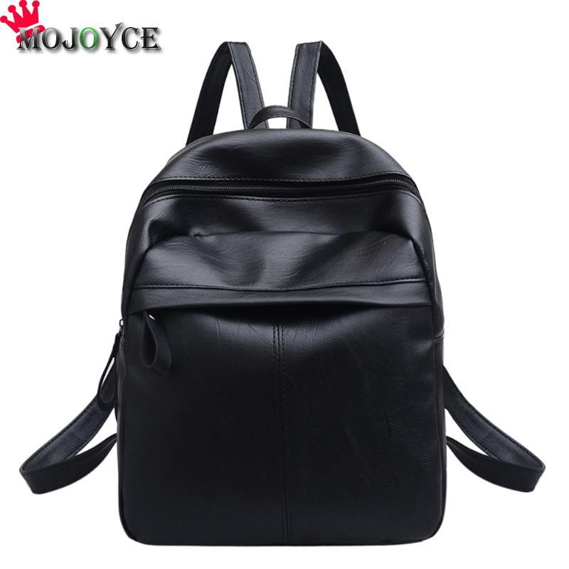 MOJOYCE Backpack Women Backpack Leather School Bag Women Casual Style Simple Color Black Preppy Student Backpacks Teenage Girls primary school students school bag 3 6 candy color preppy style backpack