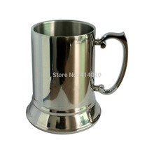 цены Fedex Free Shipping Wholesale 100Pcs High Quality Mirror 16OZ Double Wall Stainless Steel Tankard Stainless Steel Beer Mug