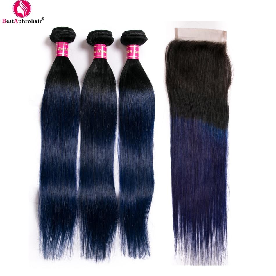 Aphro T1b Blue Ombre Human Hair Bundles With Closure 100 Brazilian Straight Hair 3 Bundles Deals