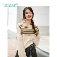 INMAN Autumn New Arrival Female Retro Contrast Color Stripe Loose Women Pullover Sweater