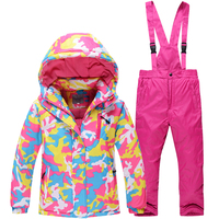 New Hot ski jacket + pants children's fur lining ski suit children winter set of clothes for boys and girls new ski sports coat