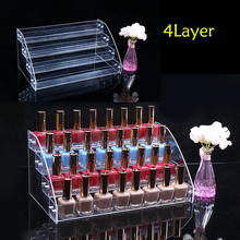 Fashion 4 Tiers Clear Acrylic Cosmetic Makeup Nail Polish Varnish Display Stand Rack Holder Organizer Storage Box