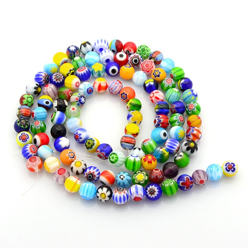 10mm Round Glass mix Millefiori Beads Jewelry Supplies