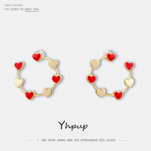 Yhpup 2019 Trendy Sweet Romantic Red Enamel Heart Geometric Stud Earrings Copper Metal Brincos S925 Jewelry for Girl 14 K Gift(China)