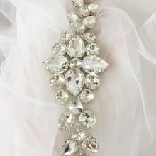 1 pc Clear Rhinestone Beaded Applique , Crystal Wedding Sash Belt Flower for Garters Bridal Boutique